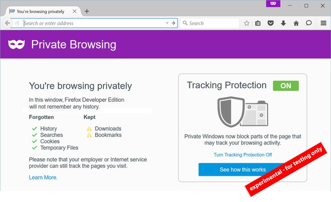 Mozilla private browsing
