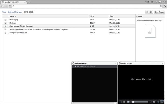 Samsung Series 5 Chrome OS screenshot filebrowser mp3speler