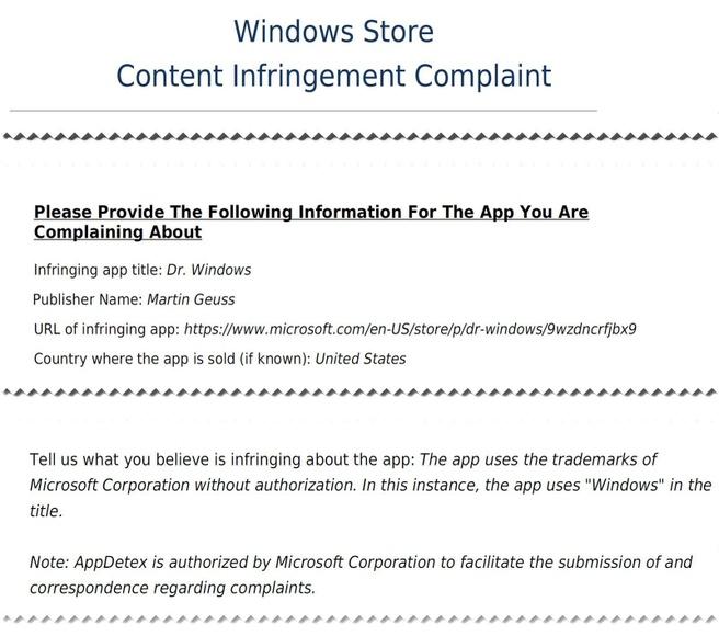 Microsoft Infrigement Complaint