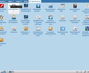 Lubuntu Netbook en desktopwisselmenu