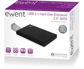 Ewent USB 3.1 Gen1 (USB 3.0) Screwless 2.5 inch SATA HDD/SSD enclosure Zwart