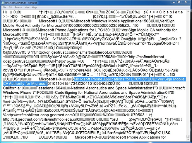 Code Windows Phone 7 beveiliging applicatie Be A Martian