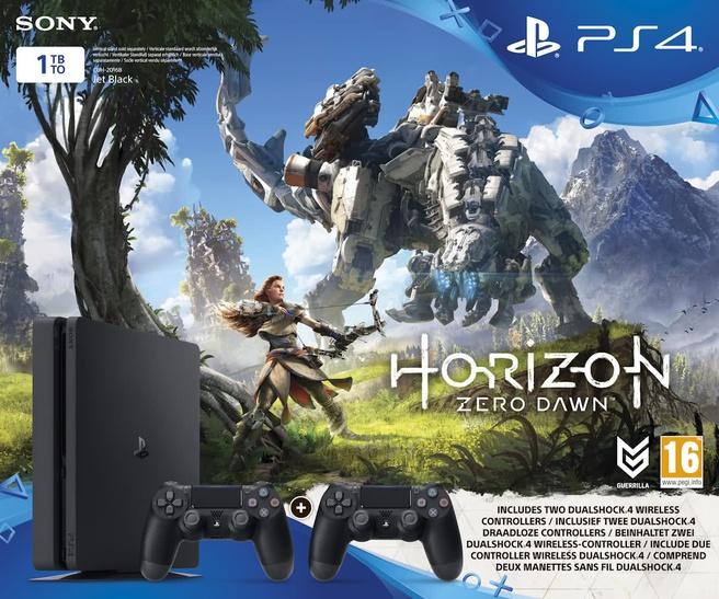 Sony PlayStation 4 Slim 1TB + 2x Dual Shock 4 controllers + Horizon Zero Dawn Zwart Zwart