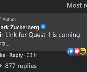 Mark Zuckerberg Oculus Quest Air Link