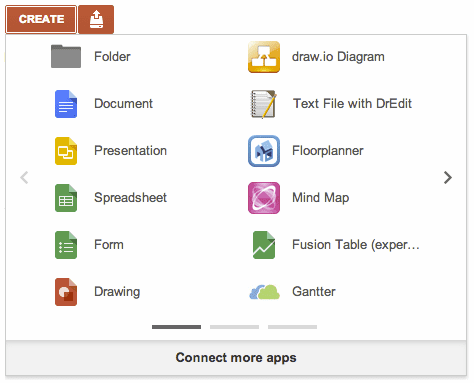 Google Drive -- create menu