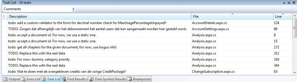 Screenshot van de tasklist is VS2008