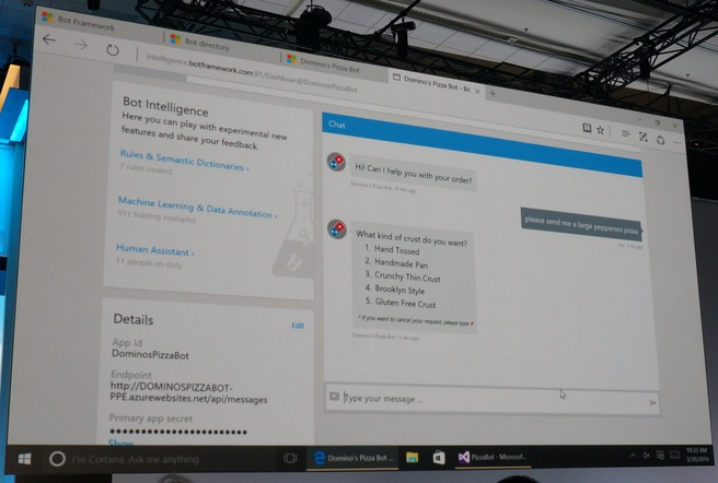 Microsoft Bots platform pizza