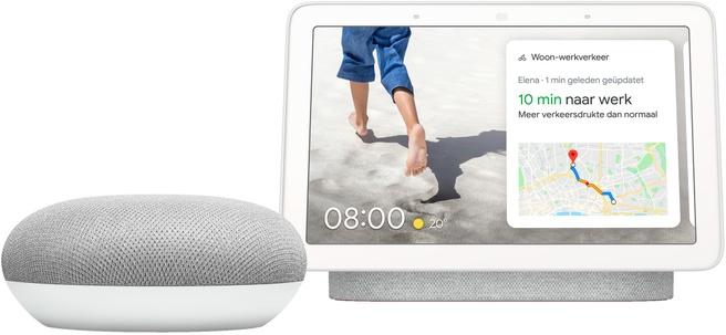 Nest Hub - Chalk + Google Home Mini Wit