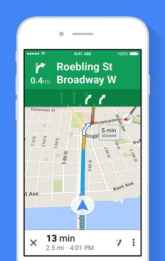 Google Maps iOS screen