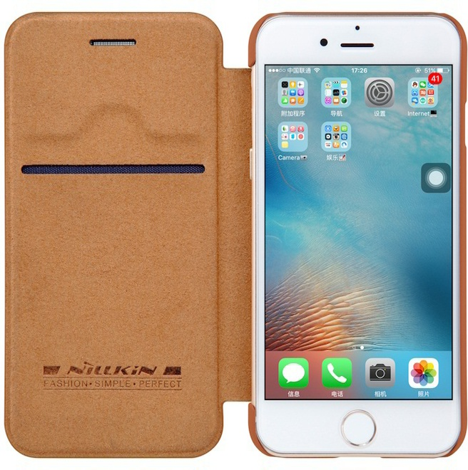 "Nillkin Qin PU Leather Book Case - Apple iPhone 7 (4.7"") - Bruin"