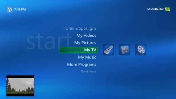 Een typisch Windows XP MCE 2005 Menu