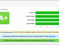 SSL grade A+ test result