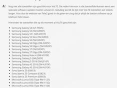 Tele2 VoLTE geschikte toestellen dec 2016