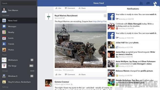 Facebook-app Windows 8.1