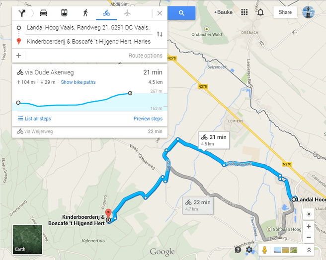Google Maps met hoogteverschillen