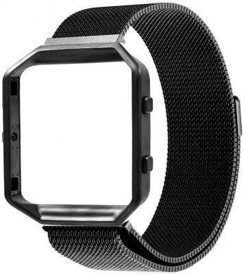 qMust Milanees armband voor Fitbit Blaze met frame - Magnetische sluiting - zwart