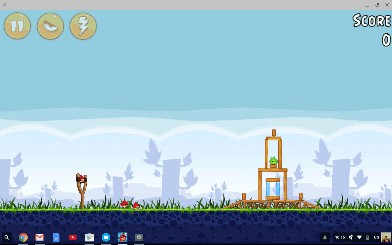Angry Birds als Android App full screen op Chromebook Flip