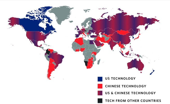 Carnegie Endowment for International Peace: gebruik surveillancetechnieken per land