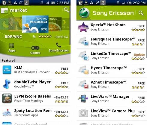 Sony Ericsson tab in Android Market
