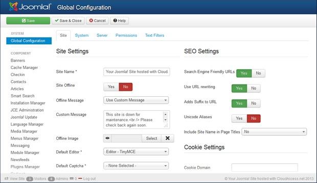 Joomla! 3.0 dashboard screenshot (620 pix)