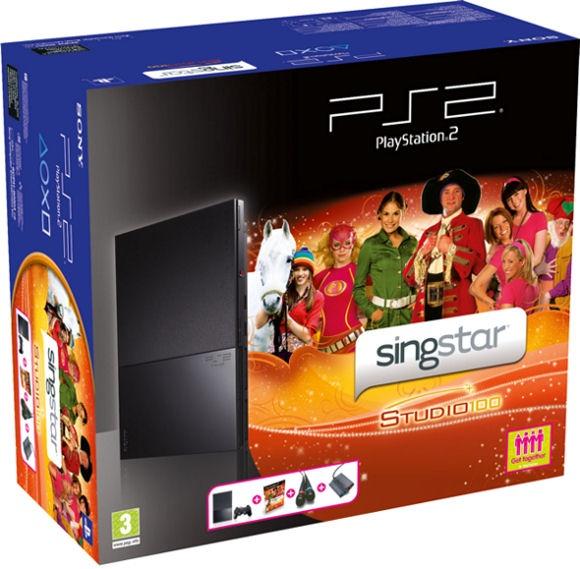 Sony PlayStation 2 + Wired Microphones + Singstar Studio 100 Zwart