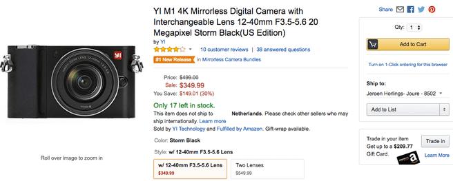 Webshops die de Yi M1 verkopen