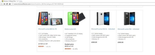 Lumia 950 en 950 XL op de site van Microsoft