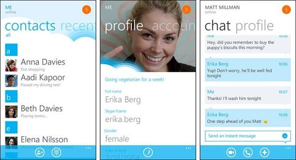 Skype voor WIndows Phone