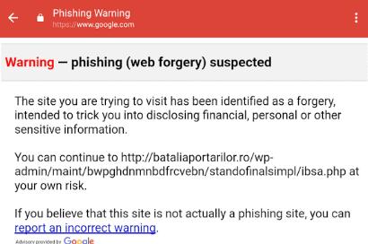 phishing waarschuwing google