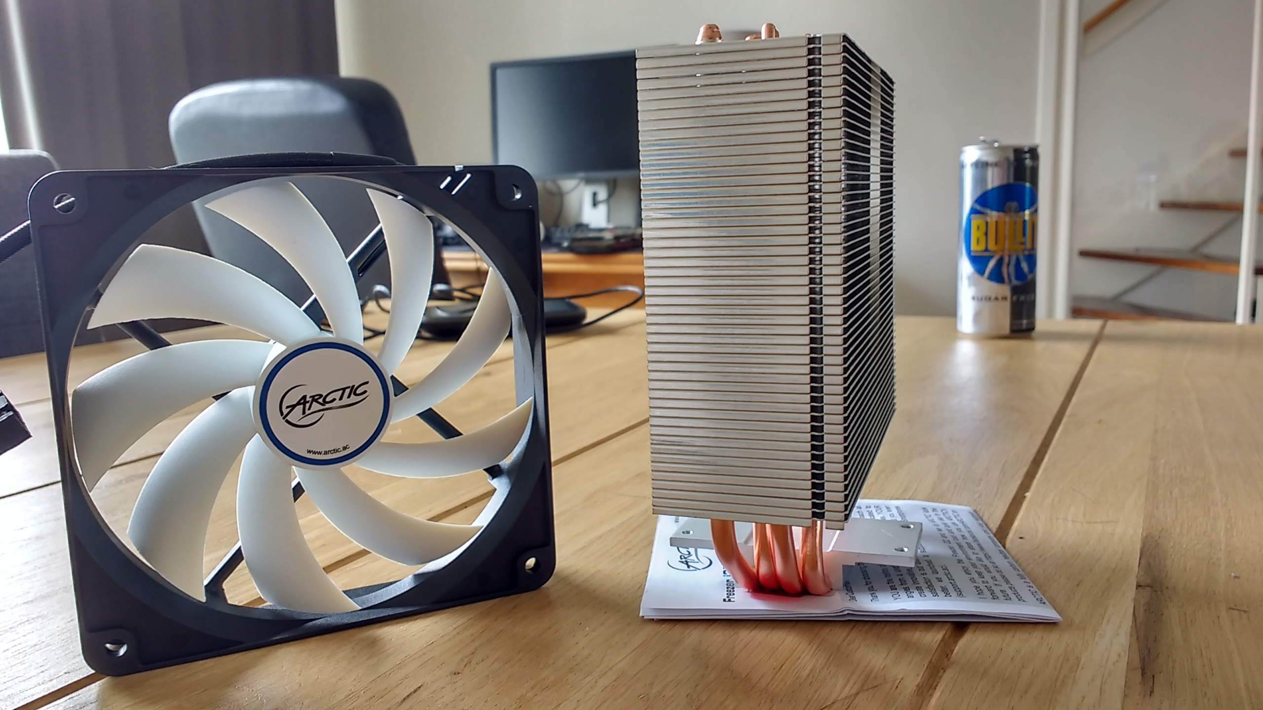 Fan en zijkant radiator