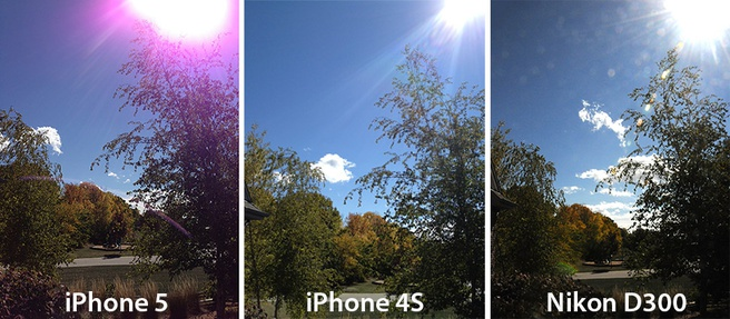 Paarse gloed in foto iPhone 5