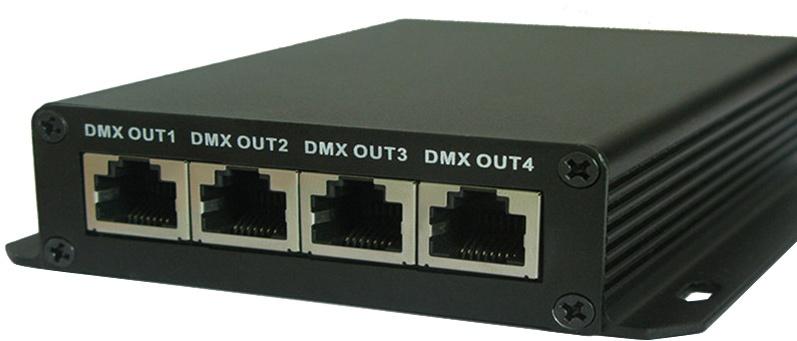 Chinese ArtNet dmx interface met vier outputs