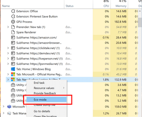 Modalità eco di Task Manager di Windows 10 e classificazione dei bordi