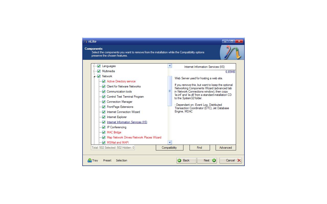 nLite screenshot