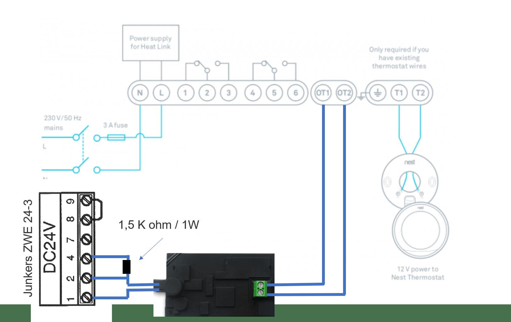 OpenTherm converter aanschakelen op Junkers/Nefit ketel