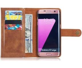 Samsung Galaxy S7 Edge Echt Leren Portemonnee Hoesje Bruin Bruin