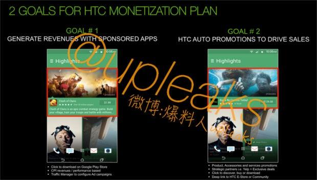 HTC Blinkfeed met advertenties
