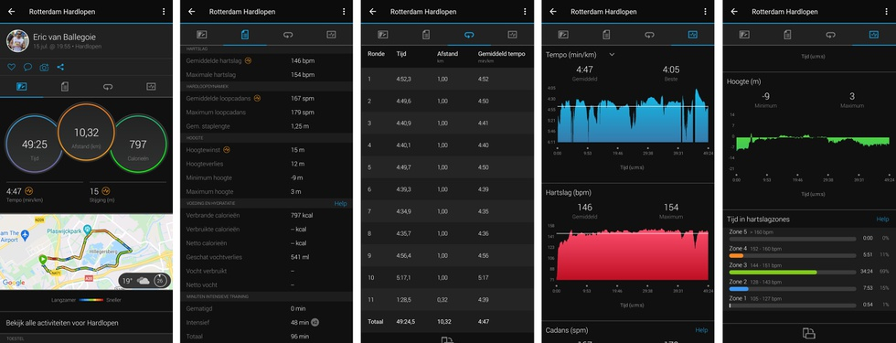 Garmin Connect app - workout informatie