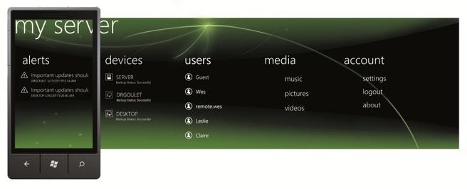 Windows Home Server 2011 app voor Windows Phone 7