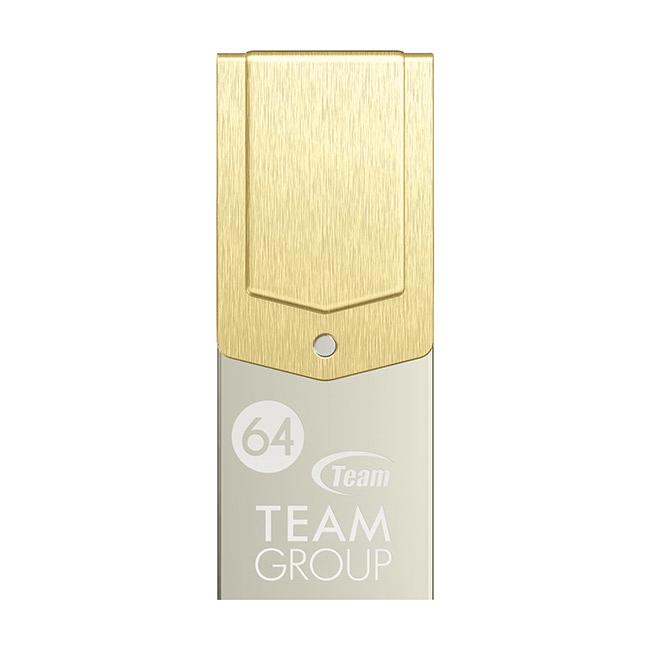 Team Group M161. Capaciteit: 64 GB, USB-versie: USB 3.0 (3.1 Gen 1), USB-connector: Type-A/Type-C. Vormfactor: Draaibaar, Kleur van het product: Goud, Zilver, Veiligheidsfunties: Stofafstotend, Waterproof. Breedte: 12 mm, Diepte: 30 mm, Hoogte: 6,2 mm 64G