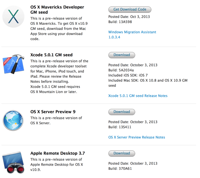 OS X Mavericks GM seed