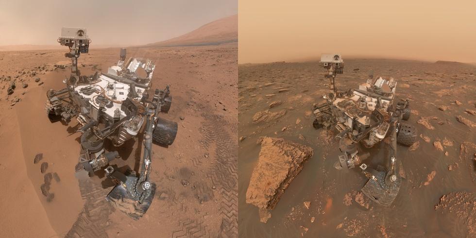 Marsrover Curiosity in 2012 en 2018