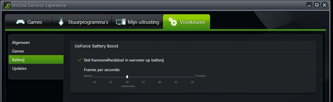 Battery Boost GeForce experience