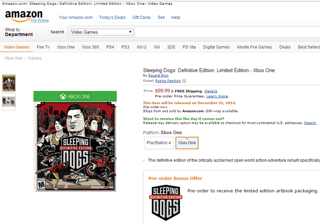 Sleeping Dogs: Definitive Edition op Amazon