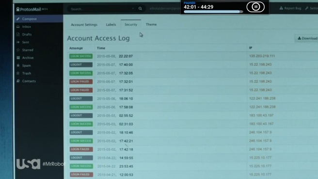 ProtonMail in Mr. Robot