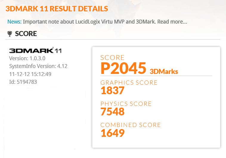 Dell Inspiron 17R SE 3DMARK11