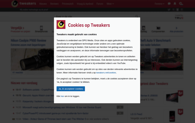 Cookiewall Tweakers