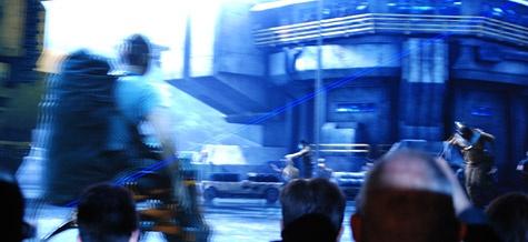 Projectiescherm vertoning Avatar deels Digital Cinema deels blu-ray schuine streep