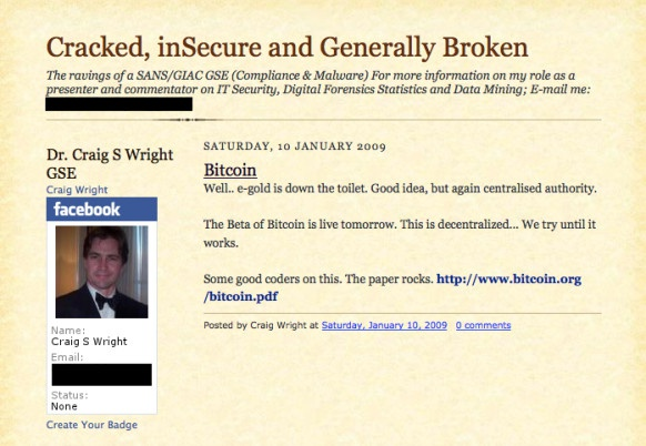 Craig Wright bitcoinposting