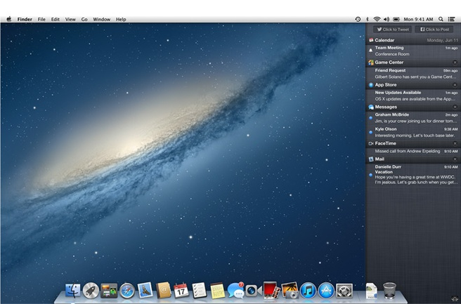 Notification Center in OS X 10.8 Mountain Lion